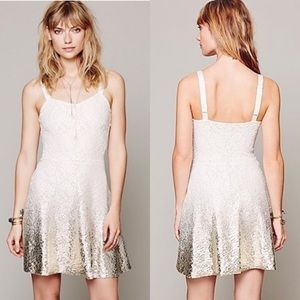 Free People Foil Ombré Ivory Fit and Flare Dress M